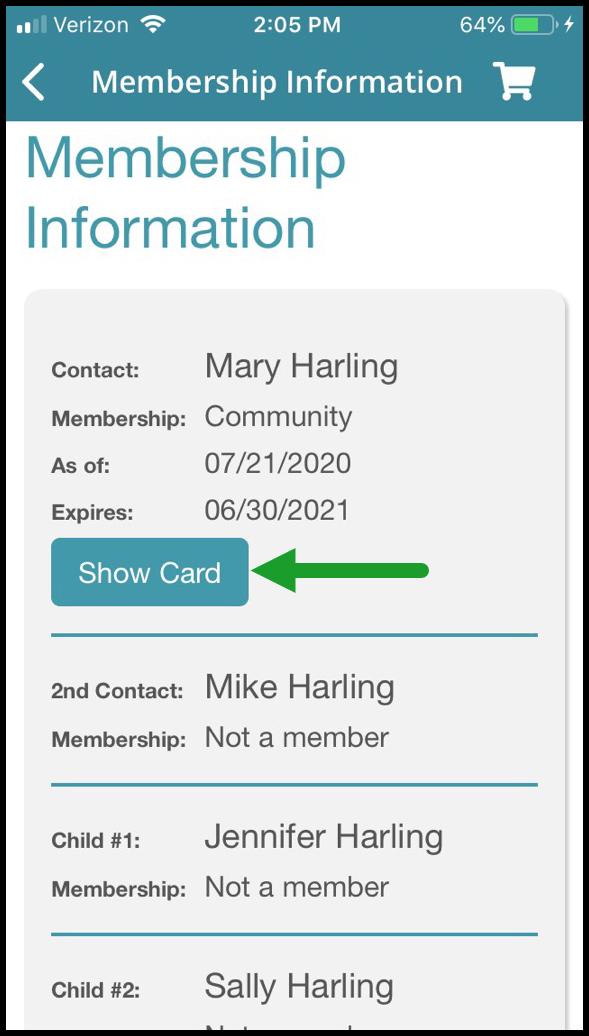 Mobile App Digital Membership Card b